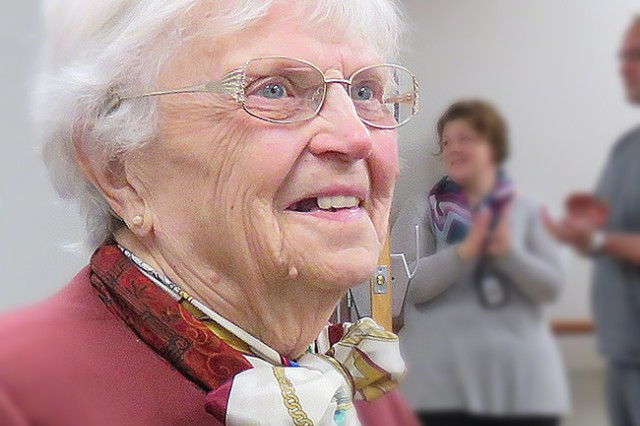 Ruth Knasel, celebrates her 95th birthday and her 34th year as a Red Cross volunteer at Madigan Army Medical Center at a party in her honor, Jan. 5 on Joint Base Lewis-McChord, Wash.