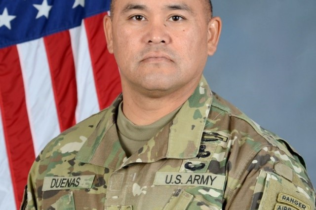 Command Sergeant Major Robert A. Duenas hails from Fayetteville, NC and graduated from Westover Senior High in June 1991.In August 1991, he joined the U.S. Army from his hometown of Fayetteville, NC. After completion of One Station Unit Training and Airborne School at Fort Benning, GA., he was assigned to HHC 1st Battalion 504th Parachute Infantry Regiment (PIR), Fort Bragg NC.CSM Duenas' previous duty positions and assignments include Team Leader and Scout Squad Leader for the 1st Battalion, 504th PIR, Fort Bragg, NC; Scout Squad Leader and Platoon Sergeant for 4th Battalion, 31st Infantry, Fort Drum, NY; Platoon Sergeant for 3rd Battalion, 505th PIR, Fort Bragg, NC; Team Sergeant and Instructor Writer for the 5th Ranger Training Battalion, Dahlonega, GA; First Sergeant for both 3rd SQDN, 2nd CAV REGT and 1st Battalion, 38th Infantry, Fort Lewis, WA.CSM Duenas additionally worked as the Operations Sergeant Major for the 1-38th IN; Operations Sergeant Major for 2nd Battalion 508th PIR, Fort Bragg, NC; Command Sergeant Major for 1st Battalion, 16th Infantry and as the 4th BDE, 1st Infantry Division as the Provisional Rear Detachment, Fort Riley, KS; Deputy Chief of Staff G-3 Operations Sergeant Major for the United States Army Pacific, Fort Shafter, HI; the Command Sergeant Major for the 1st Squadron 73rd Cavalry Regiment, Fort Bragg NC; and is currently assigned as the Command Sergeant Major for the 4th Brigade 25th Infantry Division (Airborne), Joint Base Elmendorf-Richardson, AK.CSM Duenas has a total of 54 months deployed in support of the War on Terror; three Afghanistan and two Iraq tours. Additionally CSM Duenas has two Operational tours; Operation Joint Forge in Bosnia Herzegovina and the Multinational Forces and Observer in Egypt.CSM Duenas holds an Associate Degree in General Studies, and is currently working on finishing his Bachelor's Degree. He has excelled in every leadership position from Team Leader to Sergeant Major, and has successfully completed every Noncommissioned Officer Education System, to include the United States Army Sergeants Major Academy, Class 59. Other military schools include, BN Pre-Command and CSM Development Course, Jumpmaster School, Ranger School, Air Assault School, Long Range Reconnaissance Course, Basic Mountaineering Course both winter and summer, Basic Instructors Course, and the Manpower and Force Management Course.CSM Duenas' awards and decorations include four Bronze Star, six Meritorious Service Medal, five Army Commendation Medal, three Army Achievement Medal, the Army Good Conduct Medal (8th Award), National Defense Service Medal, Armed Forces Expeditionary Medal, Afghanistan Campaign Medal (4 campaign stars), Iraqi Campaign Medal (2 campaign stars), the Global War on Terrorism Service Medal, Global War on Terrorism Expeditionary Medal, Noncommissioned Officers Professional Development Ribbon (4th Award), Army Service Ribbon, Overseas Service Ribbon (numeral 4), two Valorous Unit Award, Meritorious Unit Citation, Army Superior Unit Award, NATO Medal (bronze star), Multinational Forces and Observers Medal, Ranger Tab, Air Assault Badge, Expert Infantryman Badge, Combat Infantryman Badge, and the Master Parachutist Badge.