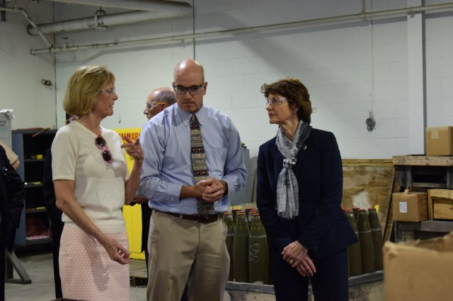 Indiana's lieutenant governor, Suzanne Crouch, visited Crane Army Ammunition Activity on May 18. While on base, Crouch, and president of Indiana Economic Development Corporation, Elaine Bedel, toured CAAA's pyrotechnic facility and future Flexible Manufacturing Complex, and was briefed by Deputy to the Commander Norman Thomas, on CAAA's continued missions of future readiness for the Joint Warfighter. Crouch toured the future Flexible Manufacturing Complex, where she was briefed on how the facility will expand Crane Army's capabilities in the future.