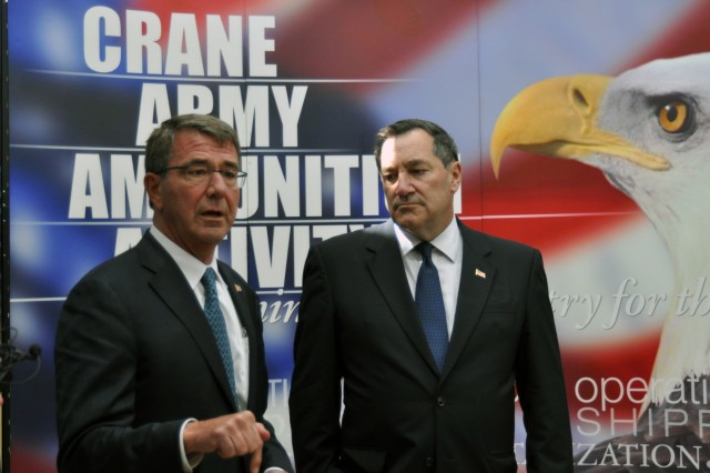 Secretary of Defense Ashton Carter made a historic visit to Naval Support Activity, Crane, June 22 to see the capabilities of the base's tenant activities. The visit occurred at the invitation of Indiana Sen. Joe Donnelly to highlight the vital support Crane Army Ammunition Activity and Naval Surface Warfare Center, Crane Division, provide to the Department of Defense.