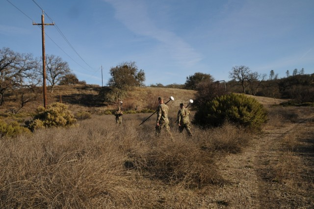 Army Reserve Soldiers with the 926th Engineer Brigade based in Montgomery, Ala., using GPS equipment to survey area at Fort Hunter Liggett, Calif., January 2018.  Once the base unit is established, the team walks to other points to establish perimenters of the survey plot