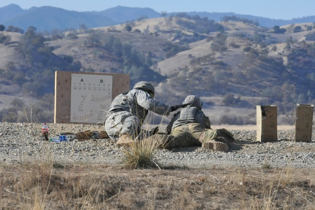 Twelve U.S. Army Reserve Soldiers from the 316th Expeditionary Sustainment Command recently completed a week-long M240B automatic weapon training event called Operation Cold Steel II at Ft. Hunter Liggett, California Dec. 12, 2017. The training makes the sustainment Soldiers more lethal, accurate and combat ready.