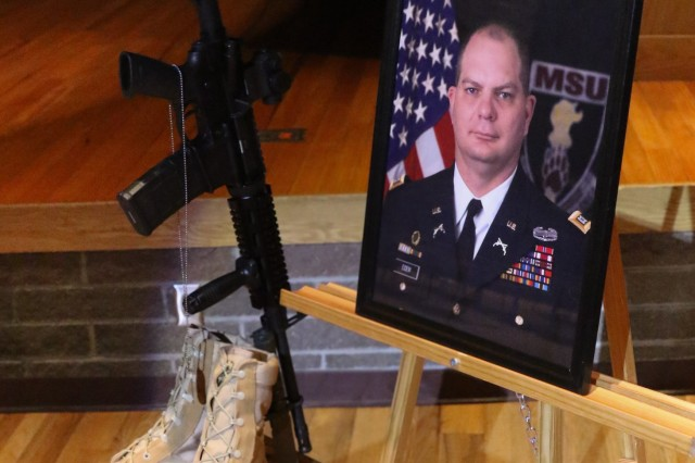 Family members, friends, Cadets and fellow ROTC cadre gathered at Missouri State University Jan. 18 to honor and remember Capt. Aaron Eidem, a former cadre member who was posthumously being awarded the Soldier's Medal for actions he took in 2016.