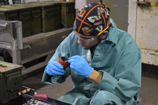 Crane Army employees manufacture rounds for the MK 45 five-inch gun. These fully-automatic weapons are used on U.S. Navy ships against fast, highly-maneuverable targets on the water's surface, in the air, and on land. Experienced CAAA workers promote readiness for the U.S. military every day through the production of ammunition like these.