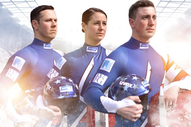 From left to right, Sgt. Matthew Mortensen, 32, an interior electrician, Sgt. Emily Sweeney, 24, a military police officer, and Sgt. Taylor Morris, 26, an Army human resources specialist, will represent the World Class Athlete Program during luge competitions at the Olympics.
