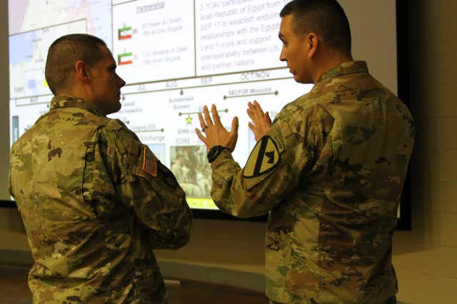 CAMP SHELBY, Miss.-Maj. Aaron Morrison, the operations officer for 3rd Armored Brigade Combat Team, 1st Cavalry Division, during their deployment to Kuwait discusses lessons learned with a member of the 155th Armored Brigade Combat Team, Mississippi National Guard here Jan. 16. The brief was an opportunity for 3ABCT commanders and staff to share lessons learned from their most recent deployment to Kuwait in support of Operation Spartan Shield with their Army Total Force partners.