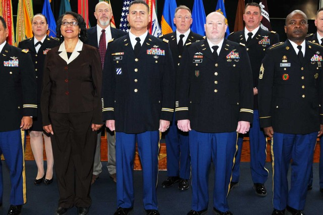 The retirees from the Fort Rucker Quarterly Retirement Ceremony Jan. 19 at the U.S. Army Aviation Museum. Back row: Sgt. 1st Class Margaret Antonio, Jeffery N. Conger, CW4 Eric Johnston, CW4 Gregory Alford and Sgt. 1st Class Thomas Elms. Front row: CW4 Johnny Garcia, Peggy L. Contreras, CW4 Joel Torres, CW3 Jason Norman and Master Sgt. James H. Brown Jr.