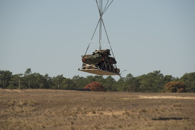 The LAV-25A2 is just about to land on Sicily Drop Zone, Fort Bragg, North Carolina.