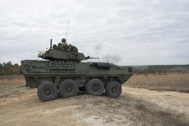 Soldiers from B Company, 5th Squadron 73rd Cavalry Regiment, 3rd Brigade Combat Team conduct a live fire exercise with the LAV-25A2 to confirm post airdrop survivability on Range 67, Fort Bragg, North Carolina.