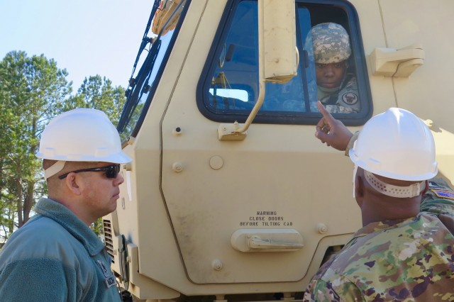 Instructors U.S. Army Staff Sgt. Michael Trautsch and Staff Sgt. Ronald Brayboy assist a Soldier attending training in the 88M10 Motor Transport Operator Course in 4th Battalion, 218th Regiment Training Institute, South Carolina National Guard at the McCrady Training Center in Eastover, South Carolina, Jan. 24th, 2018. The students from various military components from around the nation are attending the two phase, 8-week long course from Jan. 20 - Feb. 17, 2018 to reclassify to the 88M military occupational skill.