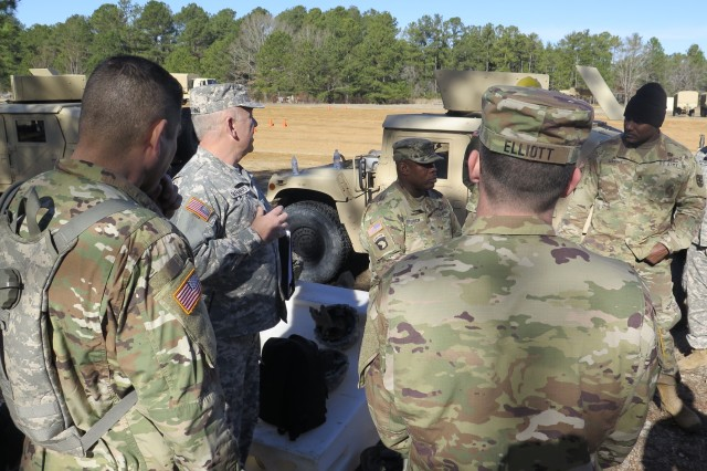 U.S. Army Sgt. First Class Charles Farthing, the 88M10 Course Manager, speaks with U.S. Soldiers attending training in the Motor Transport Operator Course in 4th Battalion, 218th Regiment Training Institute, South Carolina National Guard at the McCrady Training Center in Eastover, South Carolina, Jan. 24th, 2018. The students from various military components from around the nation are attending the two phase, 8-week long course from Jan. 20 - Feb. 17, 2018 to reclassify to the 88M military occupational skill.