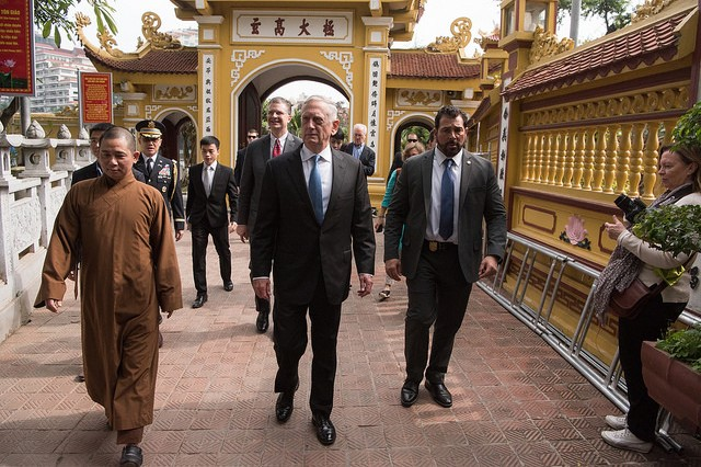 Defense Secretary James N. Mattis meets visits the Trấn Quốc Pagoda during a visit to Hanoi, Vietnam on Jan. 25, 2018.