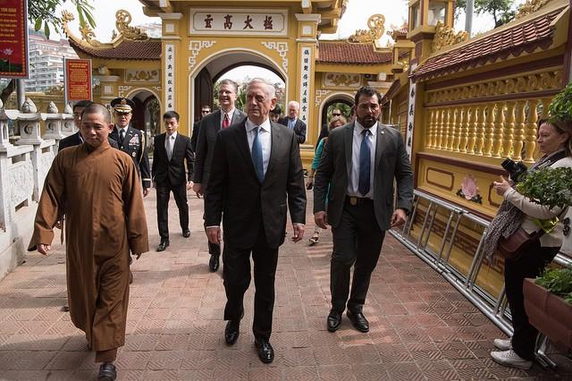 Defense Secretary James N. Mattis meets visits the Trấn Quốc Pagoda during a visit to Hanoi, Vietnam on Jan. 25, 2018.
