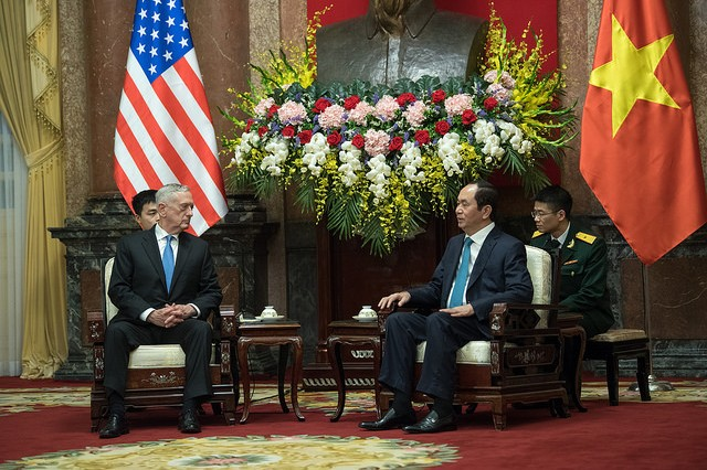 Defense Secretary James N. Mattis meets with the Prime Minister of Vietnam Nguyen Xuan Phuc during a visit to Hanoi, Vietnam on Jan. 24, 2018.