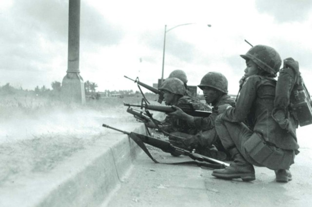 Army of the Republic of Vietnam Rangers defend Saigon during the Tet Offensive of 1968.