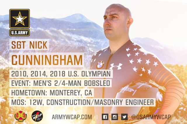Sgt. Nick Cunningham, a masonry engineer with the Army, will participate in the 2018 Winter Olympics as a member of the U.S. men's bobsled team.