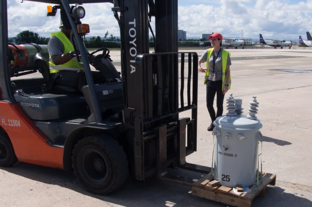 On Saturday, January 20,  2018, 253 transformers arrived at the San Juan international airport as part of the Taskforce Power Restoration for delivery to various vendors located across the island as part of the United States Army Corps of Engineers efforts to restore power to the people of Puerto Rico.Due to a shortage of transformers are often the last piece necessary to restore power to local residents. (Photo by Staff Sgt. Eric W. Jones)