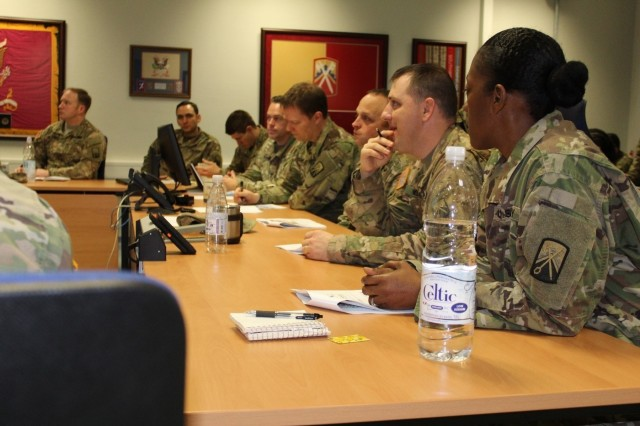 Senior leaders of the 16th Sustainment Brigade conduct a Battle Update Brief in the brigade conference room, Jan. 24. The briefing took place during Knights Week, a weeklong event bringing company, battalion, and brigade leaders of Knights Brigade together for command briefs and team building activities.