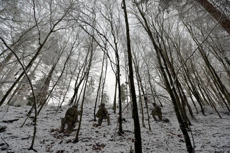 U.S. Army Special Operation Forces take the hill while training in the elements at Panzer Kaserne, Germany, in late 2017.