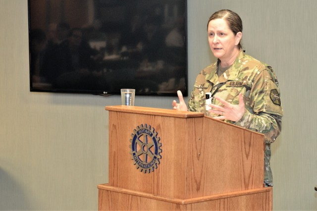 The Joint Base Lewis-McChord garrison commander, Col. Nicole M. Lucas, speaks to the Gig Harbor Chamber of Commerce, Jan. 25, 2018. Lucas was the featured guest speaker during the Gig Harbor Public Affairs Forum where she discussed the importance of the partnerships the base has with the communities that work in tandem with the base, to include Gig Harbor. (U.S. Army photo by Staff Sgt. Chris McCullough)
