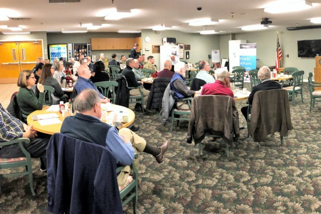 The Joint Base Lewis-McChord garrison commander, Col. Nicole M. Lucas (far right), speaks to the Gig Harbor Chamber of Commerce, Jan. 25, 2018. Lucas was the featured guest speaker during the Gig Harbor Public Affairs Forum meeting where she discussed the importance of the partnerships the base has with the communities that work in tandem with the base, to include Gig Harbor. (U.S. Army photo by Staff Sgt. Chris McCullough)