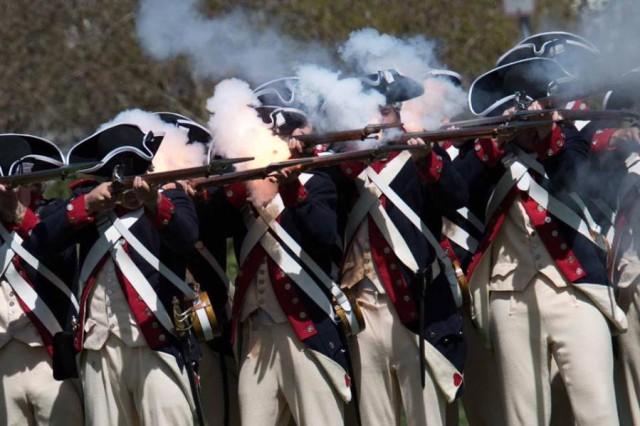The Commander in Chief's Guard, composed of Soldiers from Company A, 4th Battalion and 3rd U.S. Infantry (The Old Guard), performs a firing demonstration with Brown Bess muskets.