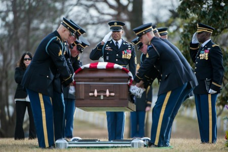 """The U.S. Army Honor Guard, 3rd U.S. Infantry Regiment (The Old Guard) Caisson Platoon, and the U.S. Army Band, """"Pershing's Own"""", conduct the funeral of U.S. Army Sgt. 1st Class Mihail Golin in Section 60 of Arlington National Cemetery, Arlington, Va., Jan. 22, 2018. Golin, an 18B Special Forces weapons sergeant assigned to 10th Special Forces Group (Airborne), died, Jan. 1, 2018, as a result of wounds sustained while engaged in combat operations in Nangarhar Province, Afghanistan. �"""