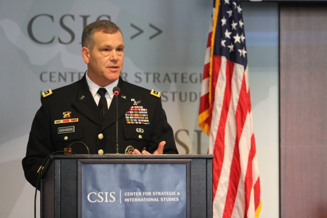 Lt. Gen. James H. Dickinson, commanding general, U.S. Army Space and Missile Defense Command/Army Forces Strategic Command speaks to the Center for Strategic and International Studies in Washington D.C. Jan. 25 about current and future Army integrated air and missile defense strategies. Dickinson addressed industry and defense leaders about the dynamic past year for the Army integrated air and missile defense enterprise, accomplishments and initiatives and the evolution of the IAMD strategy.