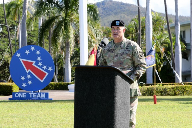 Maj. Gen. Charles A. Flynn, outgoing Deputy Commanding General-South, speaks to Soldiers, Family and friends during a Flying V ceremony Jan. 29 at historic Palm Circle on Fort Shafter, Hawaii. Flynn, served as the USARPAC DCG-South Since Aug. of 2016, and previously served as the 25th Infantry Division Commanding General.