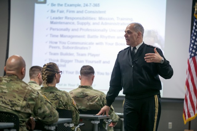 U.S. Army Gen. Gus Perna, Army Materiel Command commanding general, speaks to students of the Command and General Staff College during a visit to the resident course at Redstone Arsenal, Alabama, Jan. 26, 2018. Perna took the opportunity to provide direct guidance and mentorship to newly promoted field grade officers. The course is taught by the U.S. Army Command and Staff School and provides masters-level curriculum and instruction to U.S. Army Majors. (U.S. Army photo by Sgt. 1st Class Teddy Wade)