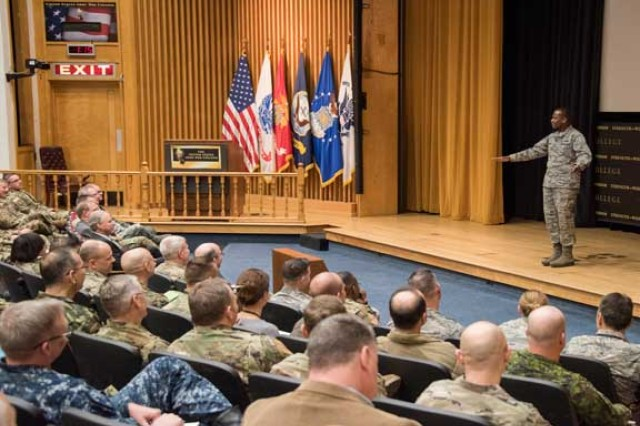 Gen. Darren McDew, Commander, U.S. Transportation Command, discusses his command's mission, cyber threats, the role of ships and mariners in the larger security environment, and leadership principles. during his presentation to the class of 2018, faculty and staff, Bliss Hall, Jan. 30.