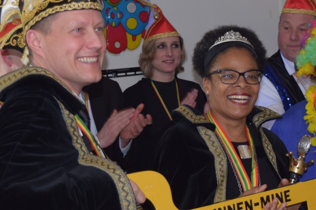 During last year's celebration at Schinnen, American Prince Roger Pirkola, of Directorate of Public Works, and Dutch Princess Joan Deekman, also from DPW, received the key to the post Feb. 17, 2017. By tradition, they ruled the Schinnen location for the duration of the party.
