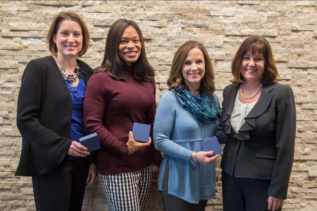 Second Lady of the United States Karen Pence, right, visited Fort Hood to meet with music and art therapists working with military service members to heal the invisible wounds of war through art therapy.