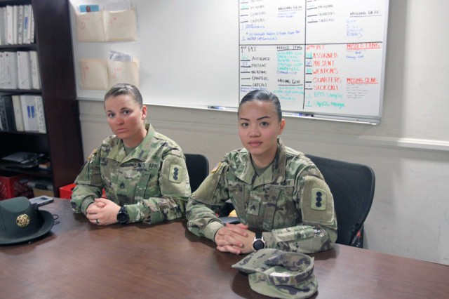 Drill Sergeant (Staff Sgt.) Jade Hill, C Battery, 1st Battalion, 31st Field Artillery, and Sgt. Ericka Hill, Headquarters and Headquarters Battery, 434th FA Brigade, drill sergeant candidate, share their Army experiences and how they became interested in becoming drill sergeants.