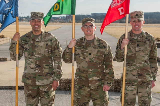 From left, Capts. Michael Moore, Company E, 3rd Battalion, 10th Infantry Regiment, commander; Joey Reynolds, Company D, 795th Military Police Battalion, commander; and Benjamin Murray, Company D, 35th Engineer Battalion, commander; all attended high school and college together and are now commanders at Fort Leonard Wood. (Missing from photo is Capt. Janai Miller.)