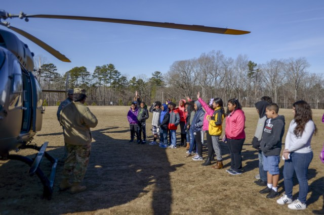 N C  Aviation Soldiers arrive in a Lakota U-72 for career day
