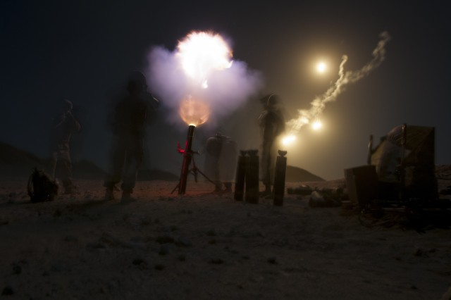 A mortar crew from Headquarters and Headquarters Company, 1st Battalion, 35th Armored Regiment, 2nd Armored Brigade Combat Team, 1st Infantry Division, fires illumination rounds into the night, Jan 28. 2018, during Inferno Creek 2018 near Thumrait, Oman. Inferno Creek 2018 is an annual Omani-U.S. exercise focused on building bilateral ties between the two militaries. This is the first time the exercise was held at the company level.
