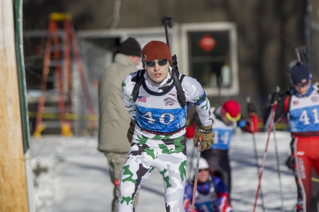 U.S. Army Spc. Troy Anger, Vermont National Guard Biathlon Team, competes in a sprint race at Camp Ethan Allen Training Site, Jericho, Vt., Jan. 26, 2018. Athletes from 24 states participated in the National Guard Eastern, Western, and Central Regional Biathlon Competitions.