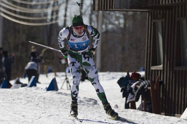 Roberts Wynn, Vermont National Guard Biathlon Team, competes in a sprint race at Camp Ethan Allen Training Site, Jericho, Vt., Jan. 26, 2018. Athletes from 24 states participated in the National Guard Eastern, Western, and Central Regional Biathlon Competitions.