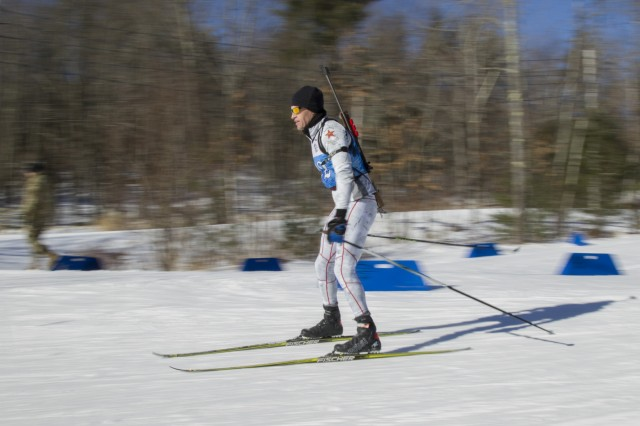U.S. Army Maj. Keegan Smith, California National Guard Biathlon Team, competes in a sprint race at Camp Ethan Allen Training Site, Jericho, Vt., Jan. 26, 2018. Athletes from 24 states participated in the National Guard Eastern, Western, and Central Regional Biathlon Competitions.