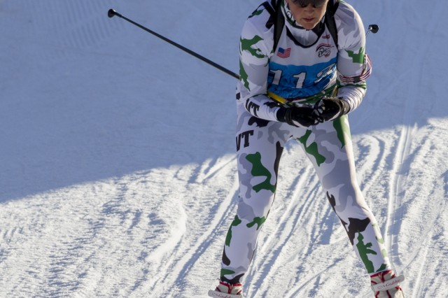 U.S. Army Sgt. 1st Class Karin Kasupski, Vermont National Guard Biathlon Team, competes in a sprint race at Camp Ethan Allen Training Site, Jericho, Vt., Jan. 26, 2018. Athletes from 24 states participated in the National Guard Eastern, Western, and Central Regional Biathlon Competitions.