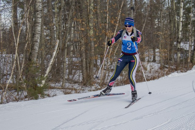 U.S. Army Sgt. Lisl Pearson, Colorado National Guard Biathlon Team, competes in a sprint race at Camp Ethan Allen Training Site, Jericho, Vt., Jan. 27, 2018. Athletes from 24 states participated in the National Guard Eastern, Western, and Central Regional Biathlon Competitions.