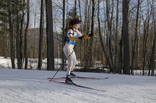 Samantha Hall, Minnesota National Guard Biathlon Team, competes in a sprint race at Camp Ethan Allen Training Site, Jericho, Vt., Jan. 27, 2018. Athletes from 24 states participated in the National Guard Eastern, Western, and Central Regional Biathlon Competitions.