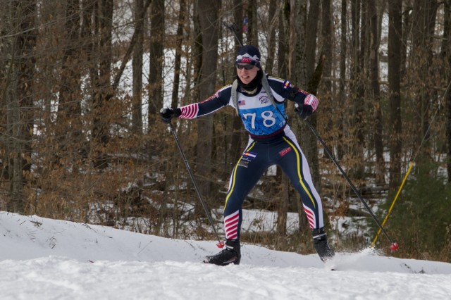 U.S. Army Spc. William Felts, Colorado National Guard Biathlon Team, competes in a sprint race at Camp Ethan Allen Training Site, Jericho, Vt., Jan. 27, 2018. Athletes from 24 states participated in the National Guard Eastern, Western, and Central Regional Biathlon Competitions.