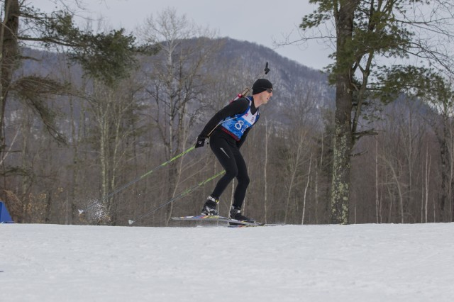 U.S. Army 1st. Lt. Matthew Stern, Pennsylvania National Guard Biathlon Team, competes in a sprint race at Camp Ethan Allen Training Site, Jericho, Vt., Jan. 27, 2018. Athletes from 24 states participated in the National Guard Eastern, Western, and Central Regional Biathlon Competitions.