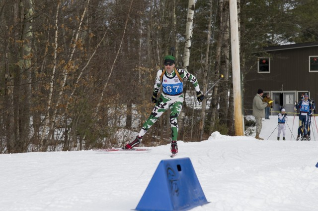 U.S. Army 1st Sgt. Dan Westover, Vermont National Guard Biathlon Team, competes in a sprint race at Camp Ethan Allen Training Site, Jericho, Vt., Jan. 27, 2018. Athletes from 24 states participated in the National Guard Eastern, Western, and Central Regional Biathlon Competitions.