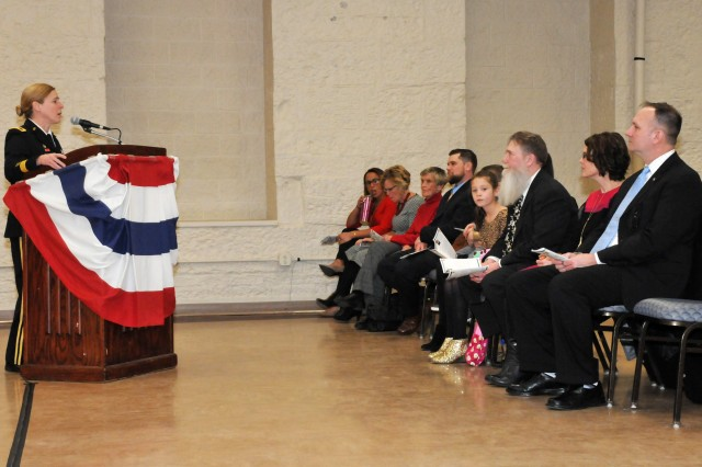 Brig. Gen. Heidi J. Hoyle, commander, Joint Munitions Command, served as the official retirement ceremony host and provided remarks to Melanie Johnson's family, friends and distinguished visitors at the Rock Island Arsenal, Feb 1.