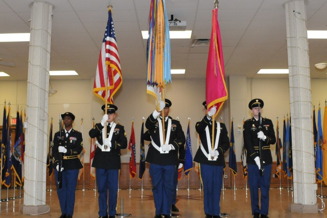 The U.S. Army Sustainment Command Color Guard posts the flags during Melanie Johnson's official retirement ceremony at the Rock Island Arsenal, Feb.1.