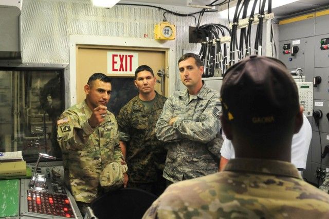 Attendees of the of the Joint Senior Enlisted Logistics Forum, receive a tour of the control room for the Logistics Support Vessel 4 Lt. Gen. William B. Bunker January 31, 2018 at Joint Base Pearl Harbor-Hickam. Hosted by the 8th Theater Sustainment Command, the JSELF brought senior enlisted logistics leaders from all services together to enhance relationships in order to better organize joint capabilities. (U.S. Army photo by Sgt. 1st Class Michael Behlin)