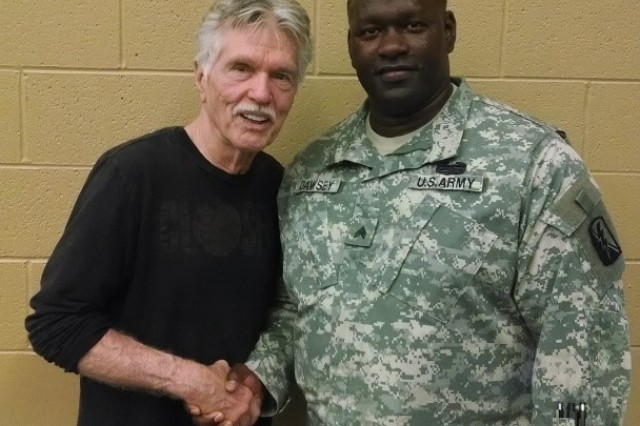 Retired U.S. Army Sgt. Robert Dawsey attends a script writing class taught by actor Tom Skerritt at the University of Washington --Tacoma